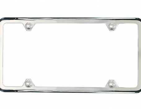 Polished Stainless Steel Slimline License Plate Frame